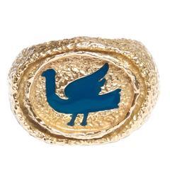 1963 Georges Braque Blue Enamel Gold Procris Ring