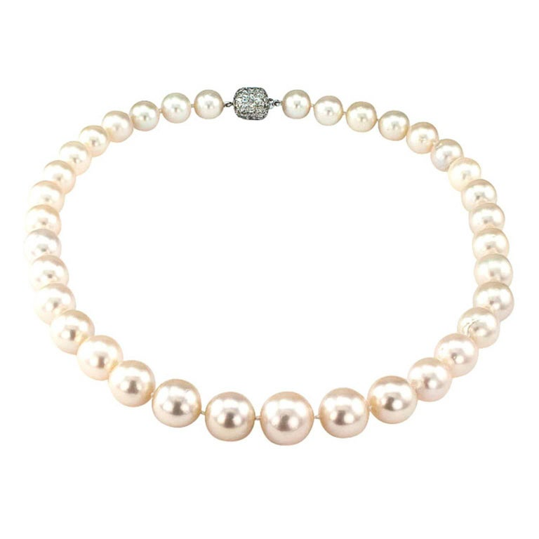 Contemporary 1990s Graduated South Sea Pearl Diamond Gold Necklace For Sale