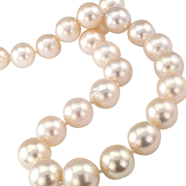 1990's Estate Graduated South Sea Pearl and Diamond Necklace