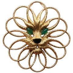 Van Cleef & Arpels Onyx Chrysoprase Gold Lion Brooch