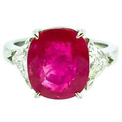 5.27 Carat GIA Cert Cushion  Burma Ruby and Diamond Ring in Plat