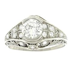 Tiffany Art Deco 1.12 Carat Diamond Platinum Engagement Ring GIA