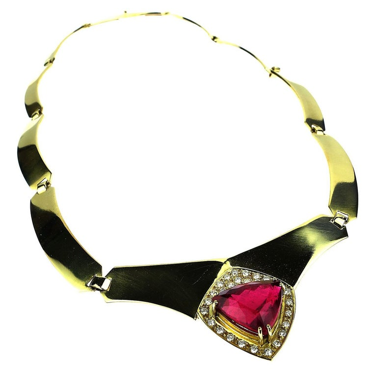 Statement Gold Collar with Rubelite and Diamonds