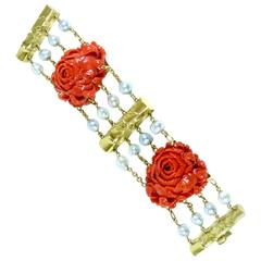 Seaman Schepps Coral South Sea Pearl Gold Bracelet