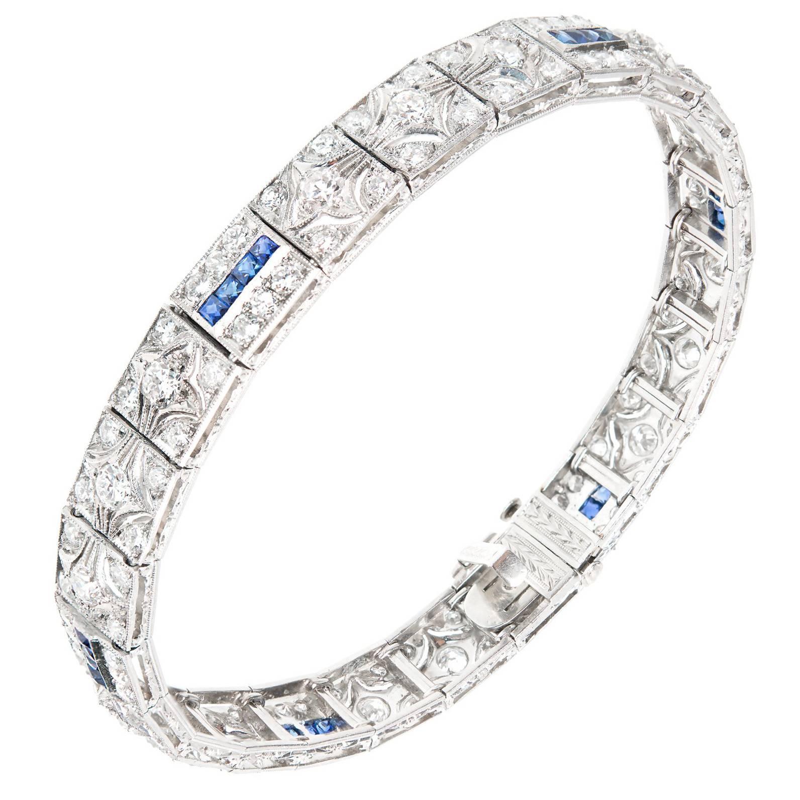 Art Deco Diamond Square Sapphire Hinged Platinum Bracelet