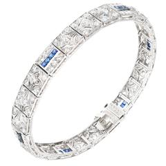Art Deco Diamond Square Sapphire Hinged Platinum Bracelet