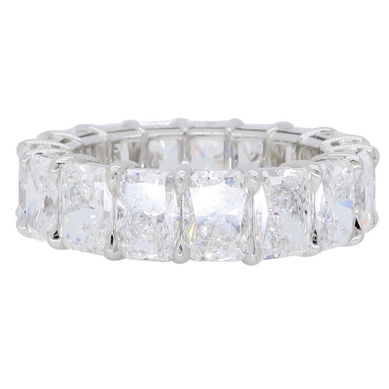 Harry Winston 9.35 Carats Radiant Diamond Platinum Eternity Rock Band Ring