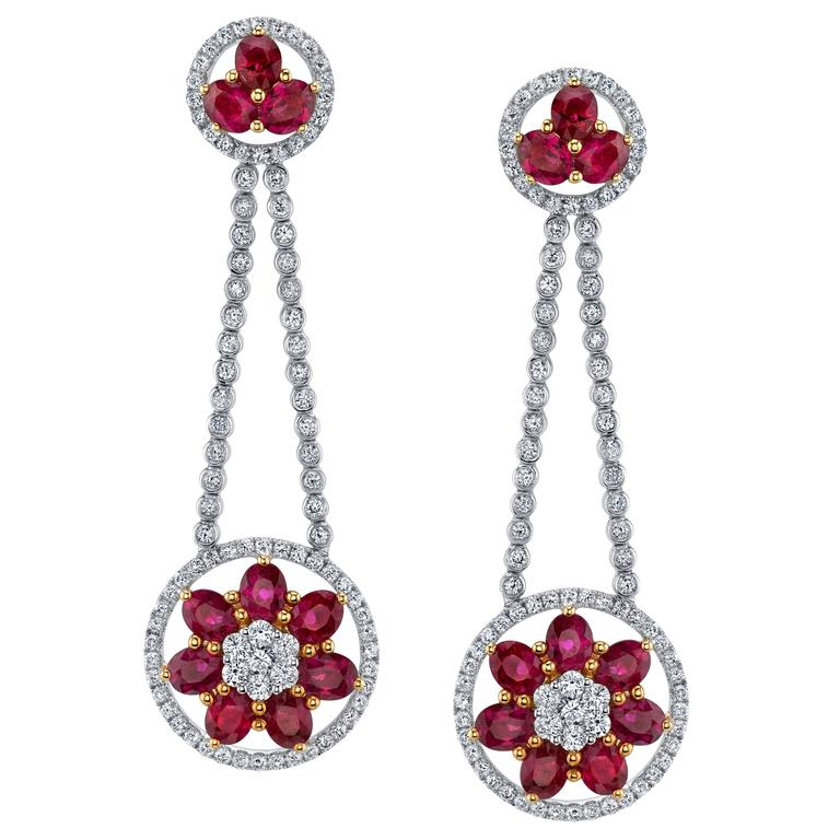 Ruby Diamond Gold Dangle Earrings