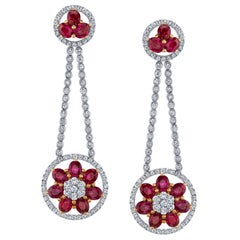 Ruby Diamond Gold Flower Cluster Flexible Dangle Earrings