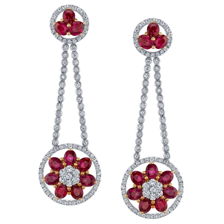Ruby Diamond Gold Flower Cluster Flexible Dangle Earrings For Sale