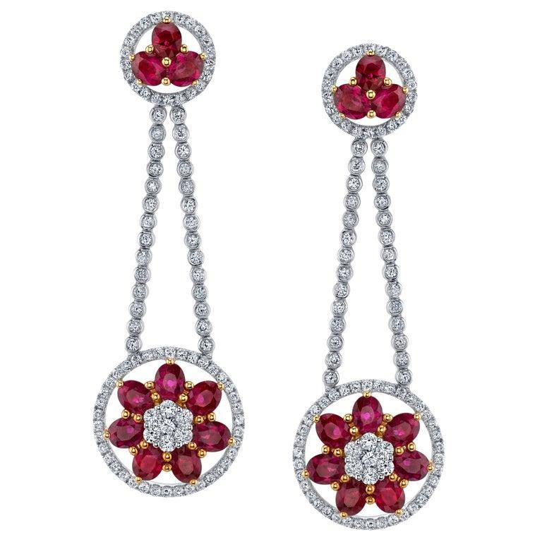 Ruby Diamond Gold Flower Cluster Flexible Dangle Earrings For Sale