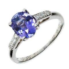 2.05 Carat Blue Violet Purple Sapphire Diamond Engagement Platinum Ring
