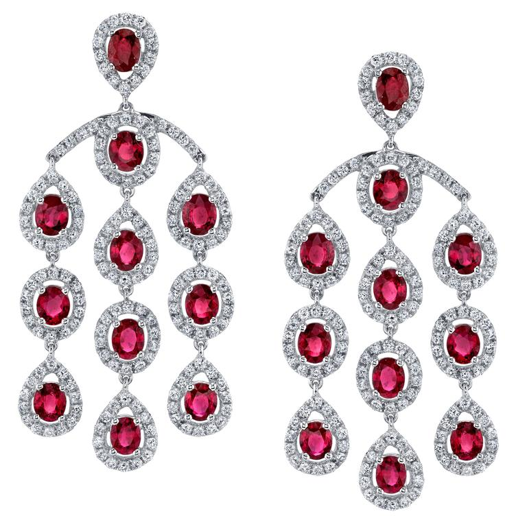 Ruby Diamond Gold Chandelier Earrings