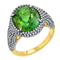 Mint Green Tourmaline Diamond Ring Oval 5.40 Carat Tamir