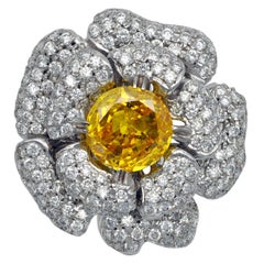 GIA Certified 3 Carat Fancy Vivid Orangy Yellow Zimmi Diamond Ring