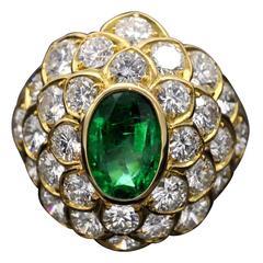 Emerald Diamond Yellow Gold Dome Ring