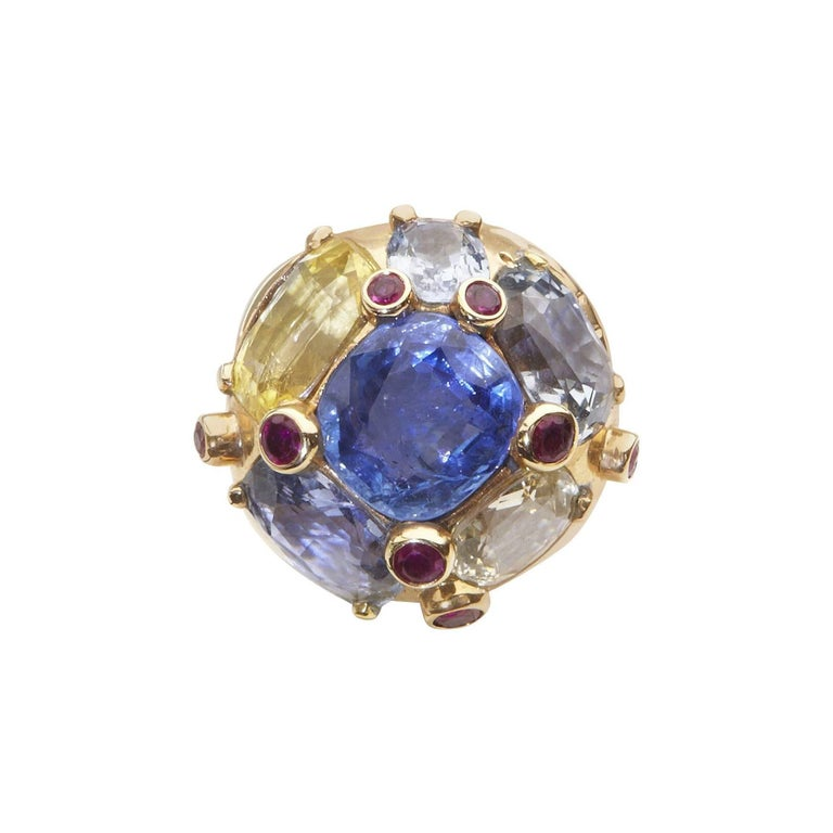 Sapphire and Ruby Yellow Gold Cocktail Ring