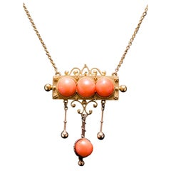 Victorian Angel Skin Coral Gold Etruscan Revival Necklace