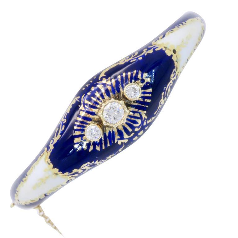 Vintage Blue & White Enamel and Diamond 14 Karat Gold Bangle Bracelet