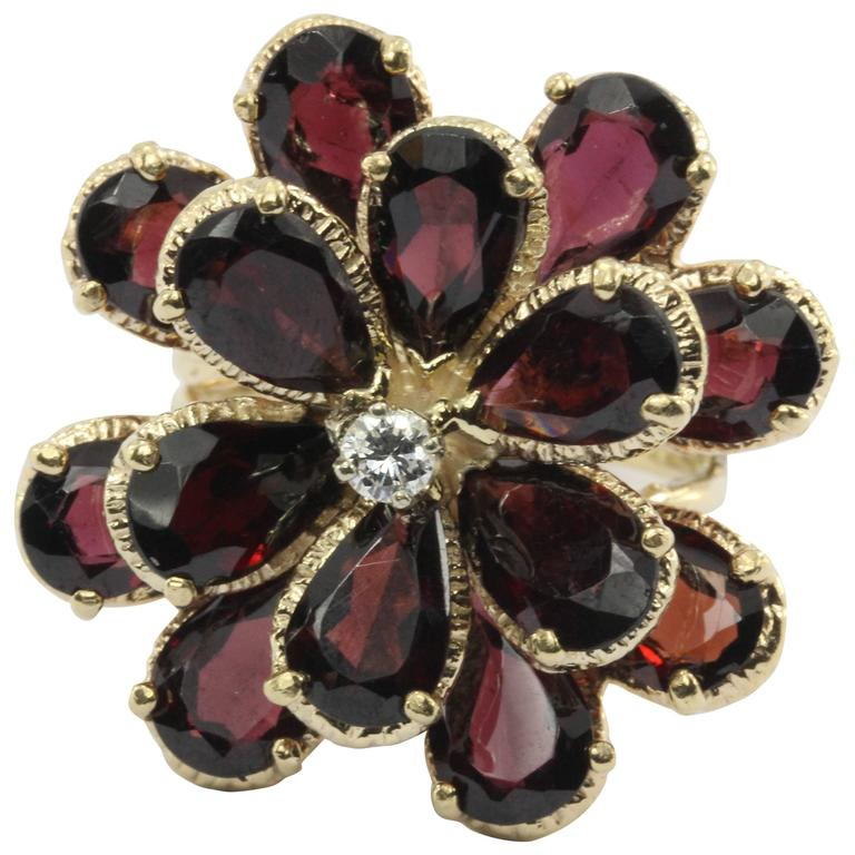 Retro Chunky 14K Gold Floral Flower Garnet and Diamond Ring For Sale