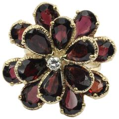 Retro Chunky 14K Gold Floral Flower Garnet and Diamond Ring