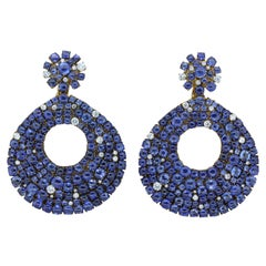 Blue Sapphire Cabochon Diamond Gold Earrings
