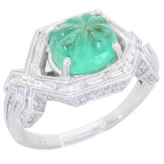18k White Gold Diamond & Carved Emerald Ring