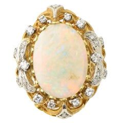 Mid-20th Century Fine Australian Gray Opal Diamond Gold Cocktail Statement Ring
