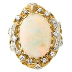 Mid-20th Century Fine Gray Opal, Diamond and Gold Cocktail Statement Ring