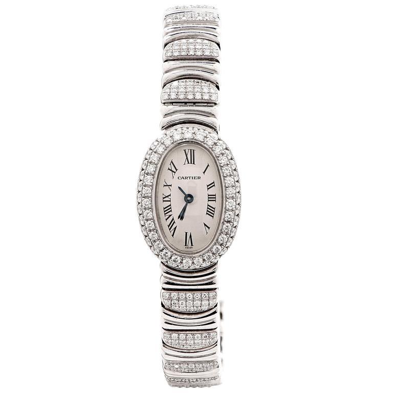 Cartier Ladies White Gold Diamond Baignoire Mini Bracelet Quartz Wristwatch
