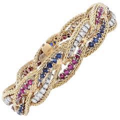 Ruby Sapphire Diamond Bracelet