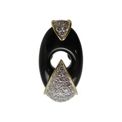 Dramatic 18 Karat Yellow Gold, Diamond and Black Onyx Ring