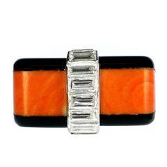 1973 Cartier Coral Onyx Diamond Platinum Ring