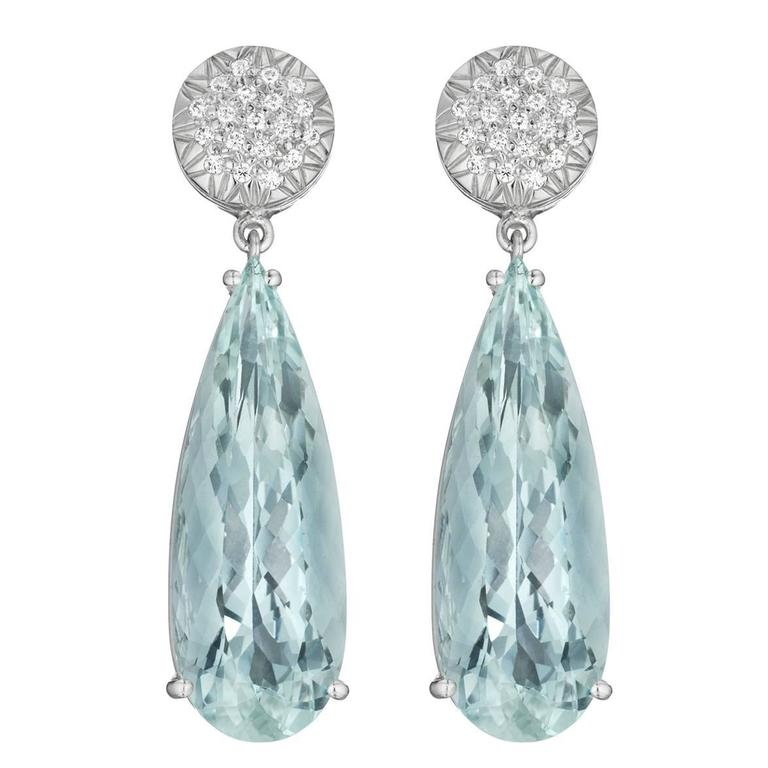 Faraone Mennella Ice Princess Aquamarine Diamonds Earrings. 1