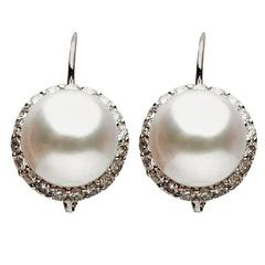 South Sea Cultured Pearl Diamond Gold Earrings