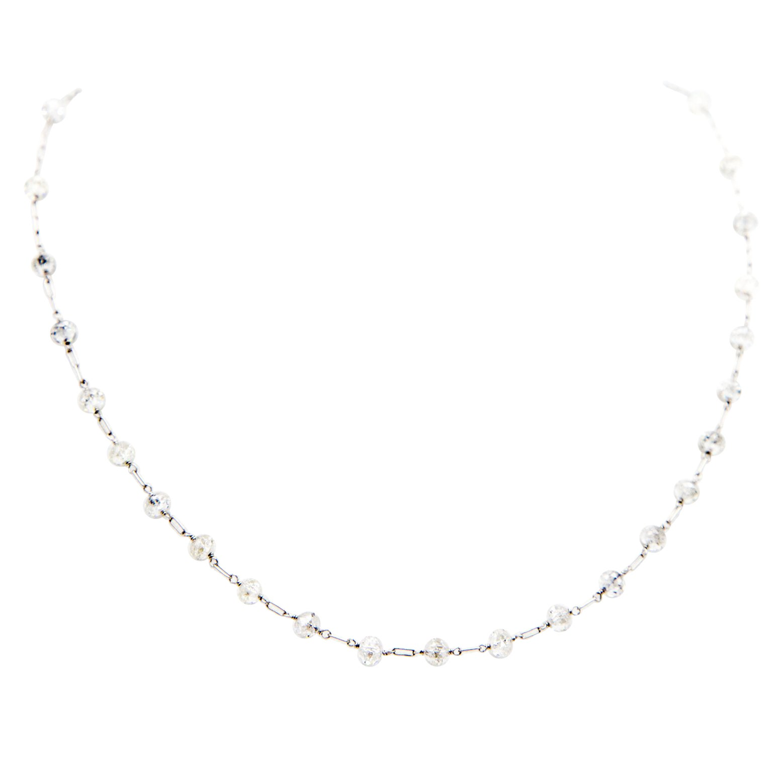 35 Carats Diamond Beads Facetted Platinum Chain Necklace