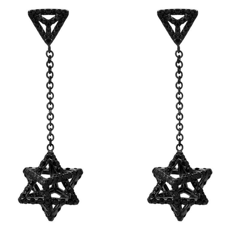 Merkaba Black Diamond Black Platinum Drop Earrings