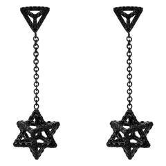 Merkaba Black Diamond Black Platinum Drop Earrings