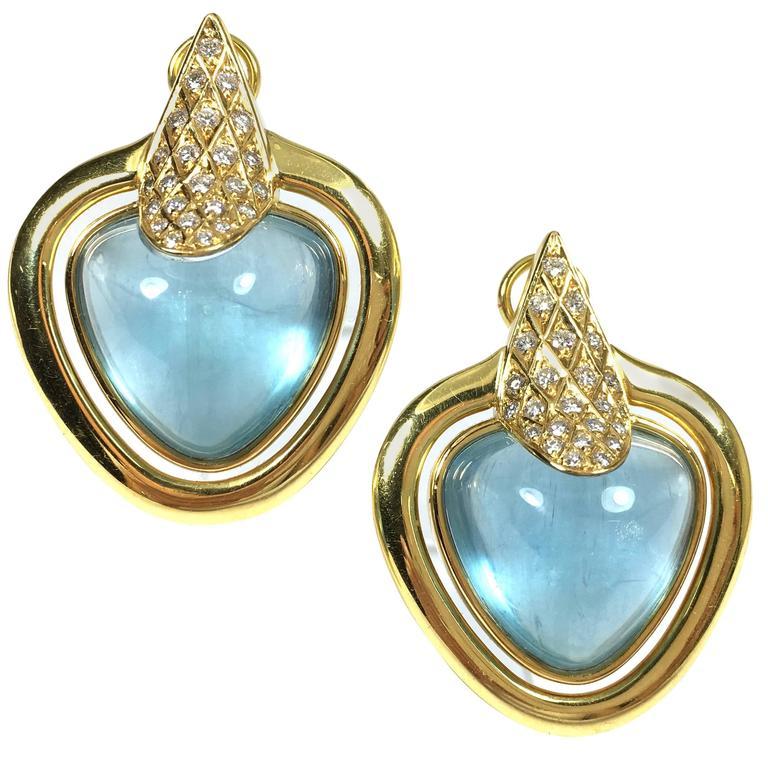 Large Aquamarine Diamond Gold Earrings