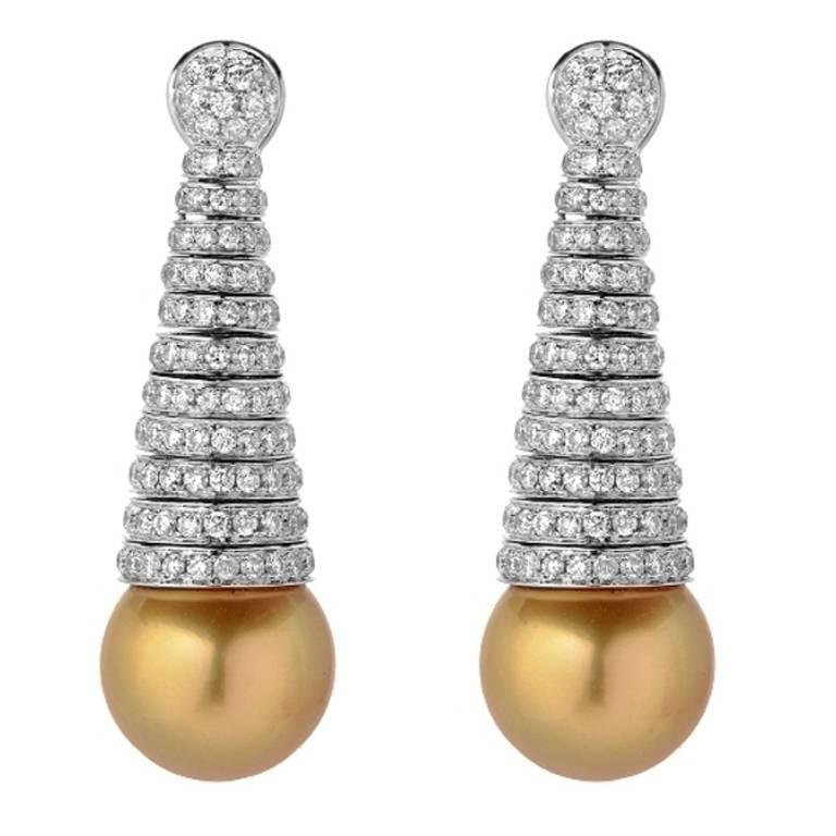 Golden South Sea Pearl Diamond Pave Gold Spiral Earrings 1