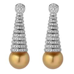 Golden South Sea Pearl Diamond Pave Gold Spiral Earrings