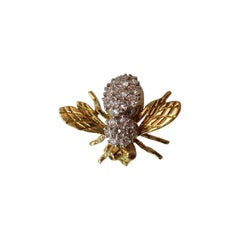 Rosenthal Diamond Gold Bee Pin with Ruby Eyes
