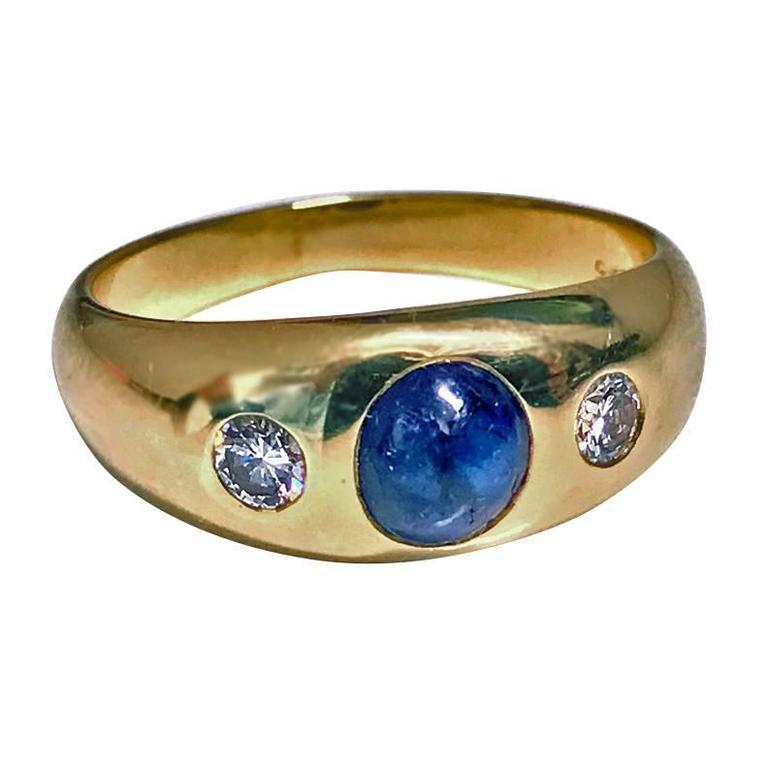 1940s Sapphire Diamond Gold Ring For Sale