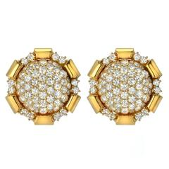 Brilliant Diamond Gold Cluster Button Earrings