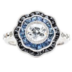Dramatic Onyx Sapphire Diamond Platinum Engagement Ring
