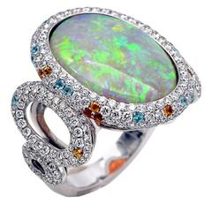 Opal Diamond Pave Gold Ring