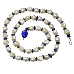 Large Freshwater Ripple Pearl Necklace with Lapis Lazuli Disc Spacers
