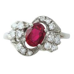 1.10 Carat Intense Red Ruby Diamond Palladium Ring