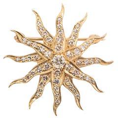 Diamond and Gold Sunburst Brooch