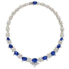 1980s Sapphire Diamond Platinum Necklace